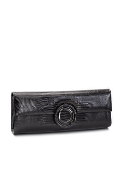 Black Lizard Roll Clutch with Black Onyx Grommet Inlay - Darby Scott