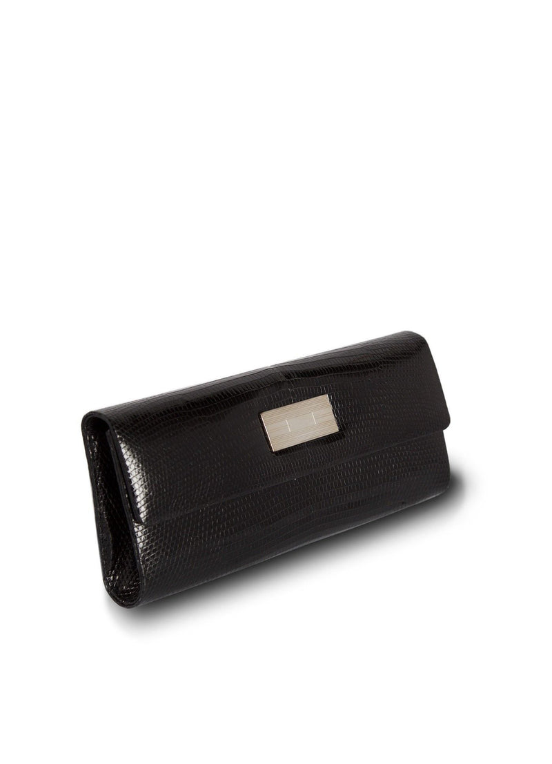 Side view Black Lizard Clutch with Silver Monogram Plate - Darby Scott