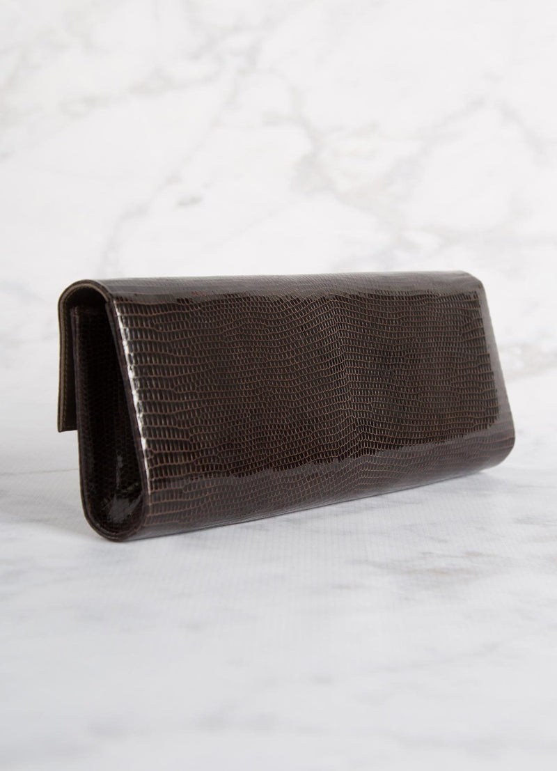 Back view of Chocolate Lizard Grommet Roll Clutch - Darby Scott