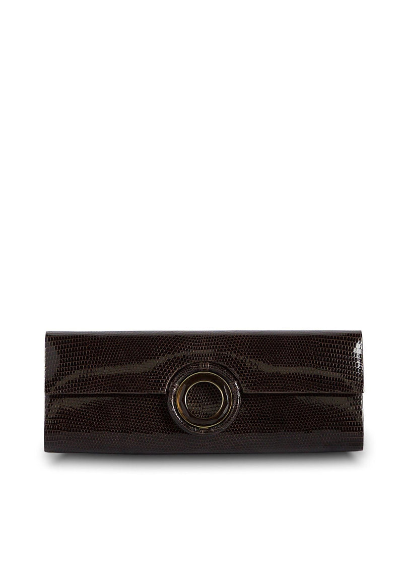 Chocolate Lizard Roll Clutch with Smokey Topaz Grommet Inlay - Darby Scott
