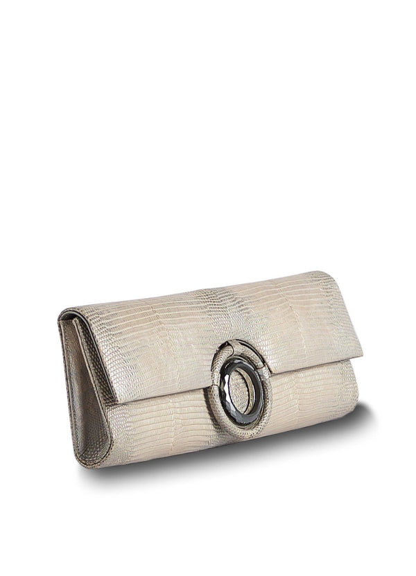 Side view of Champagne Lizard Grommet Roll Clutch - Darby Scott--alternate