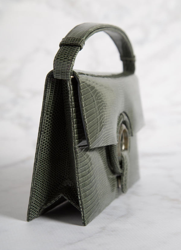 Side view of Green Lizard Grommet Handbag - Darby Scott--alternate