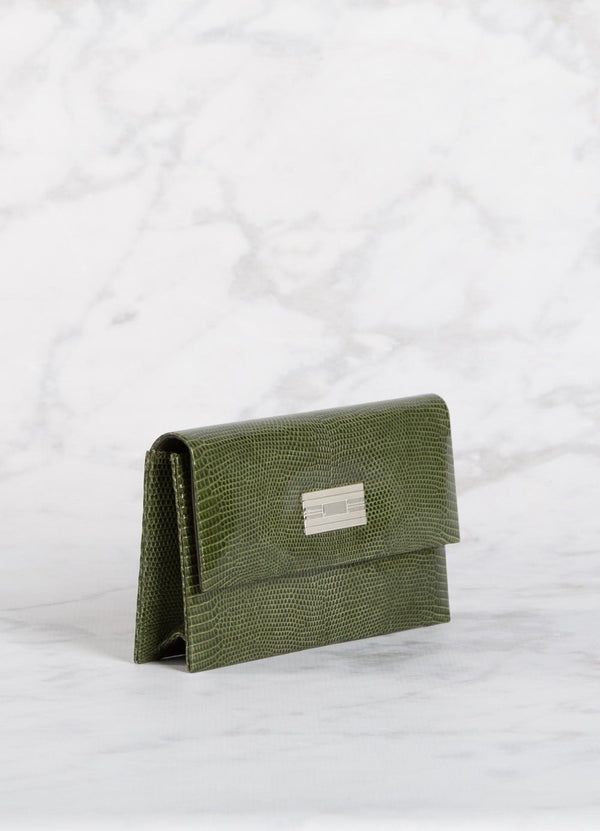 Side view Green Lizard Clutch with Silver Monogram Plate - Darby Scott--alternate