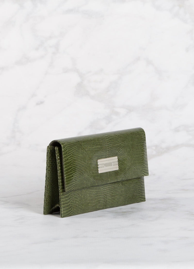 Side view Green Lizard Clutch with Silver Monogram Plate - Darby Scott