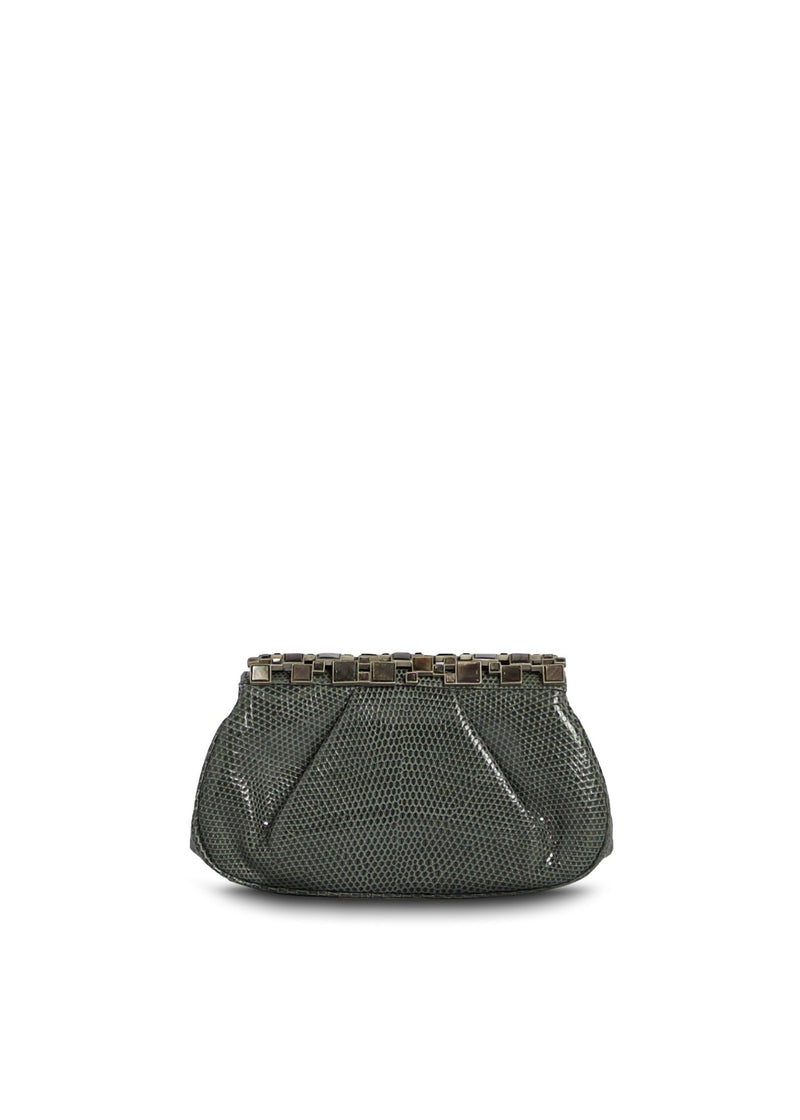 Slate Grey Lizard Art Deco Clutch with Mother of Pearl Top - Darby Scott