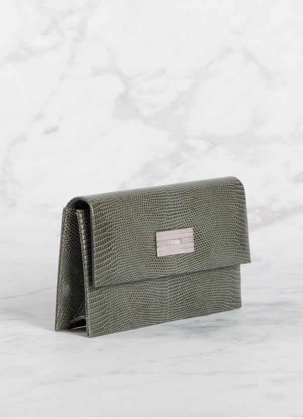 Side view Slate Lizard Clutch with Silver Monogram Plate - Darby Scott--alternate