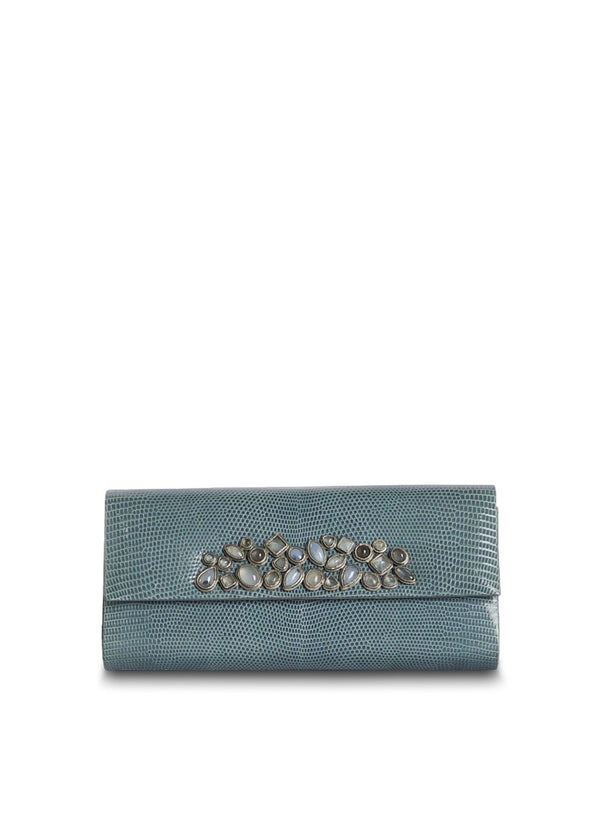 Light Blue Lizard Mosaic Roll Clutch with Gemstone Embellishment - Darby Scott
