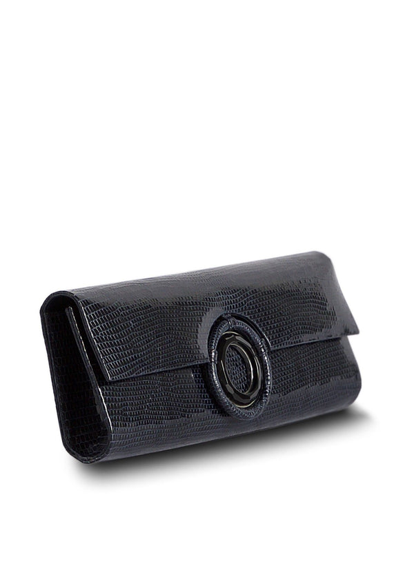 Side view of Navy Lizard Grommet Roll Clutch - Darby Scott--alternate