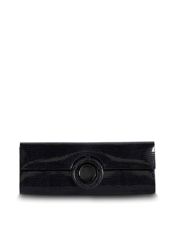 Navy Lizard Roll Clutch with Black Onyx Grommet Inlay - Darby Scott