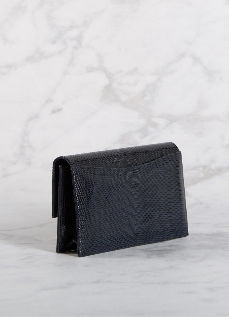 Back view of Navy Lizard Mini Fold Over Clutch - Darby Scott