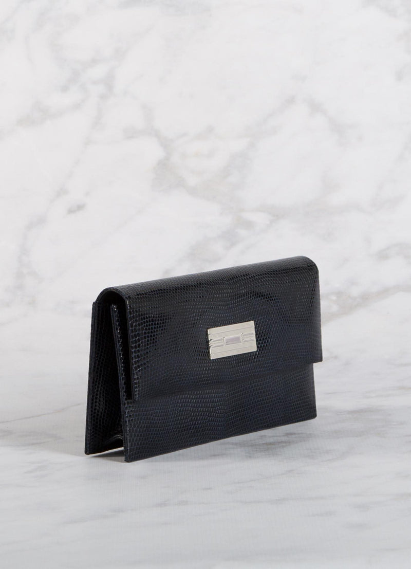 Side view Navy Lizard Clutch with Silver Monogram Plate - Darby Scott