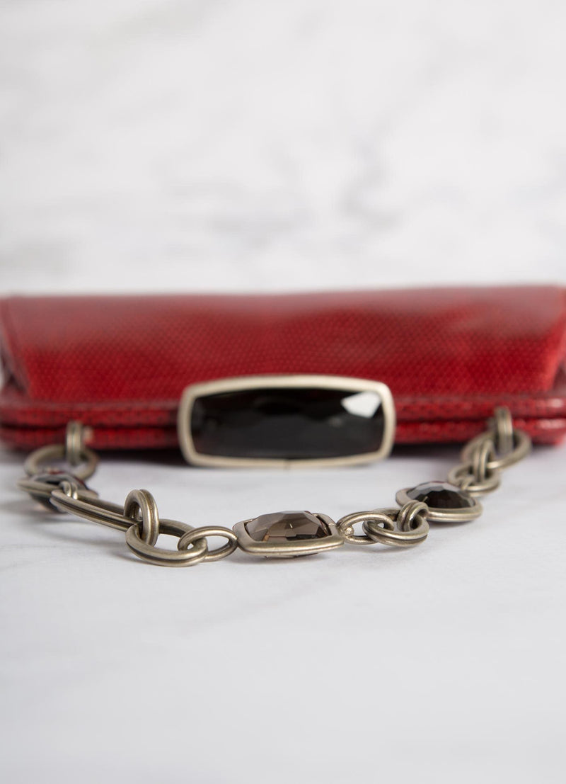 Red Lizard Chain & Jewel Handbag, Detail view of toplock - Darby Scott