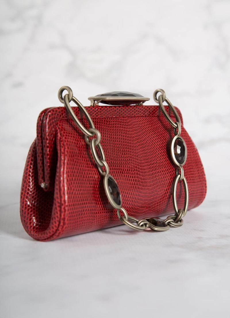 Red Lizard Chain & Jewel Micro Handbag, Side View - Darby Scott