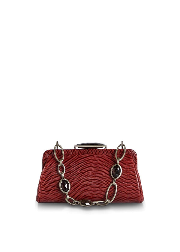 Red Lizard Chain & Jewel Micro Handbag, Front View - Darby Scott
