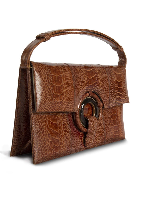 Side view Cognac Ostrich Leg Grommet Handbag - Darby Scott --alternate
