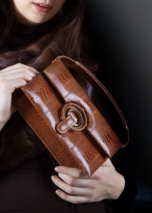 Cognac Ostrich Leg Clutch with Smokey Topaz Inlay Grommet Closure, Model - Darby Scott
