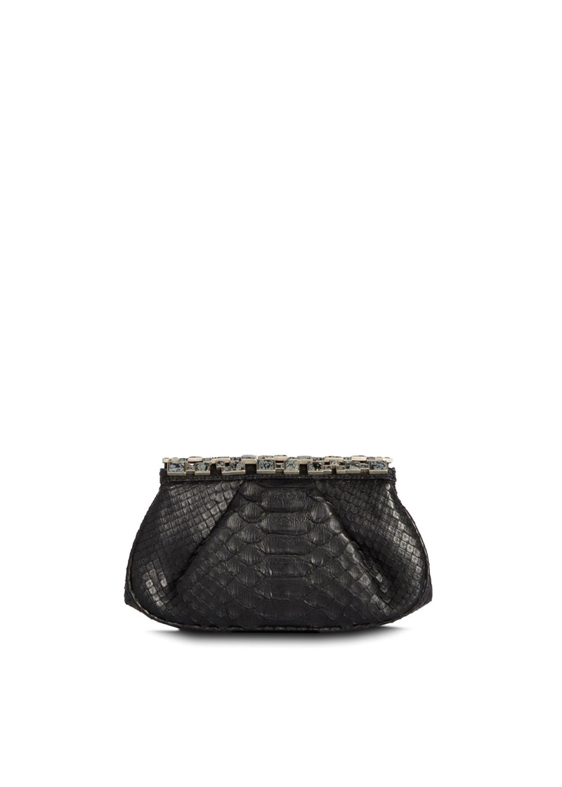 Black Python Art Deco Style Clutch with Botswana Agate Top - Darby Scott