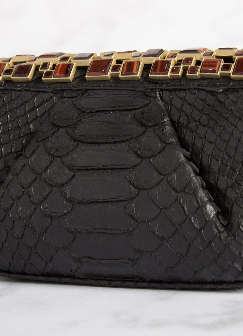 Black Art Deco Clutch Close Up - Darby Scott