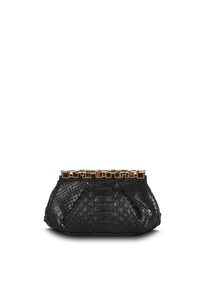 Black Art Deco Clutch with Red Tiger Eye Top - Darby Scott