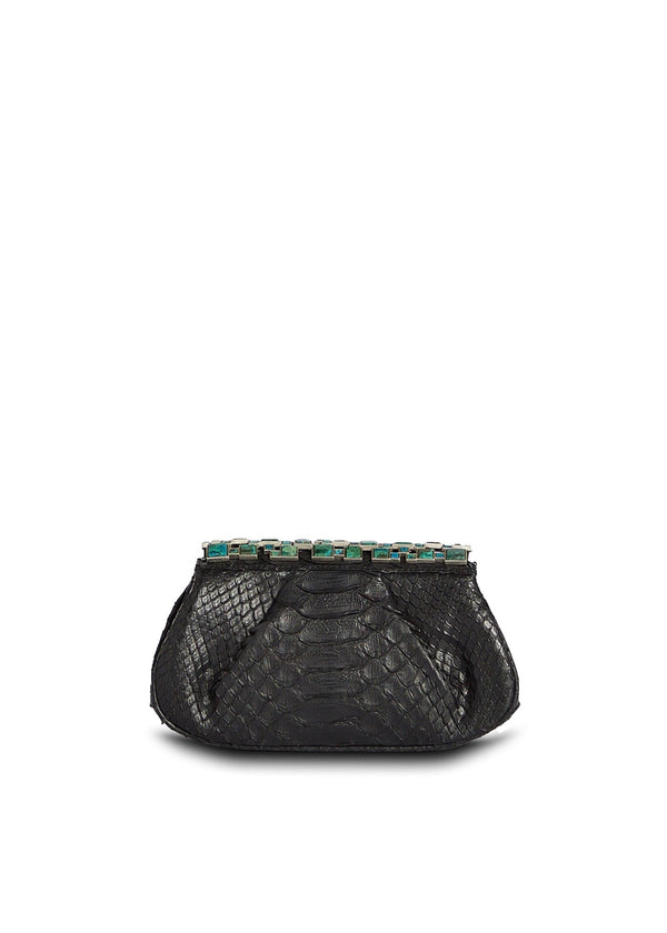Black  Art Deco Clutch with Malachite Top Front View - Darby Scott
