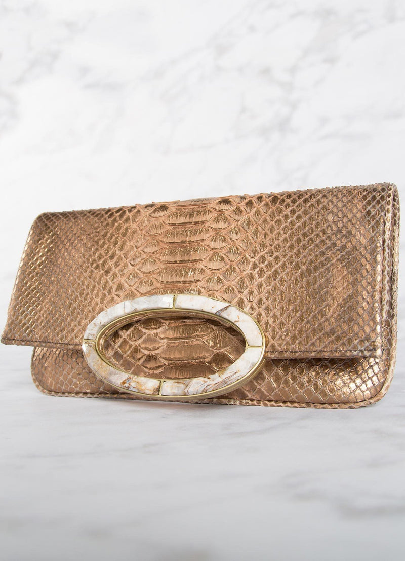 Angled View of Bronze Mini Convertible Clutch - Darby Scott