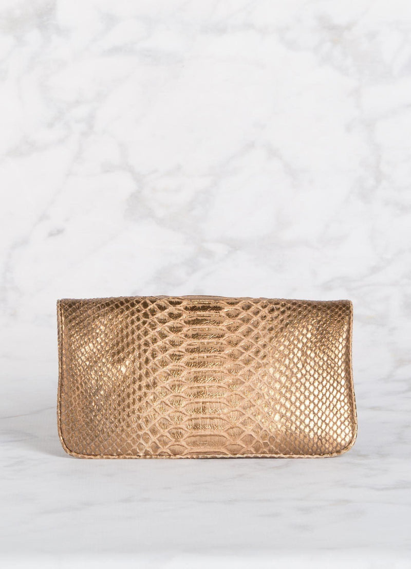 Back view of Bronze Wash Python Convertible Clutch - Darby Scott