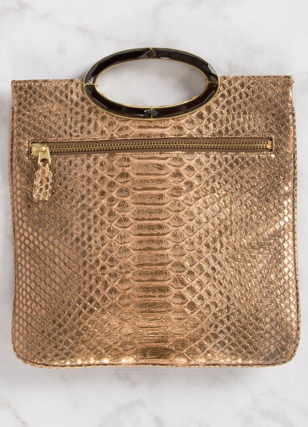 Open view of Bronze Wash Python Convertible fold over Clutch - Darby Scott--alternate