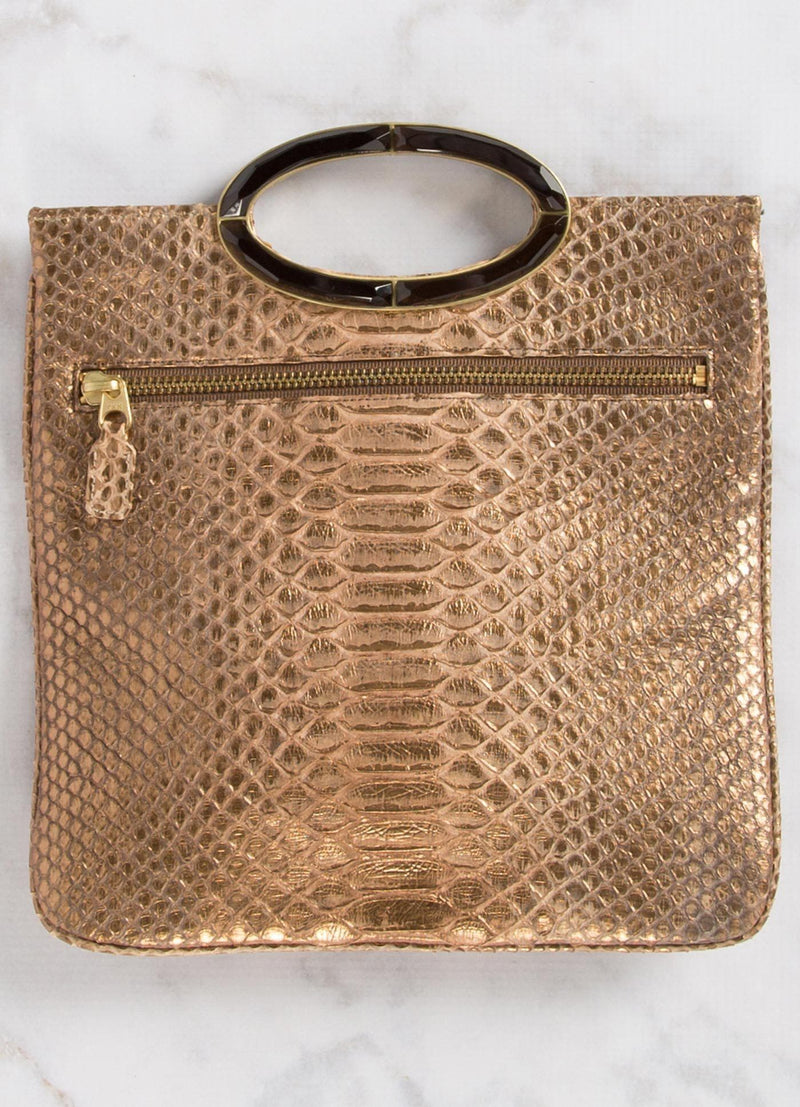 Open view of Bronze Wash Python Convertible fold over Clutch - Darby Scott