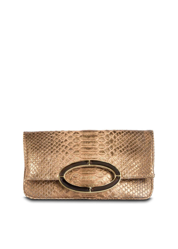 Bronze Wash Python Convertible fold over Clutch - Darby Scott