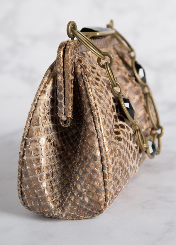 Bronze Chain & Jewel Mini Handbag, Side View - Darby Scott--alternate