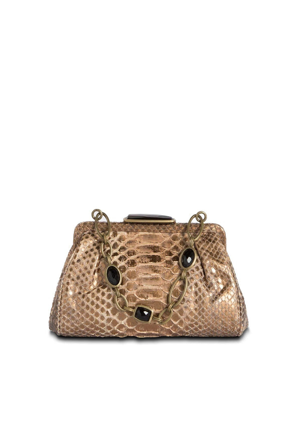 Bronze Chain & Jewel Mini Handbag, Front View - Darby Scott