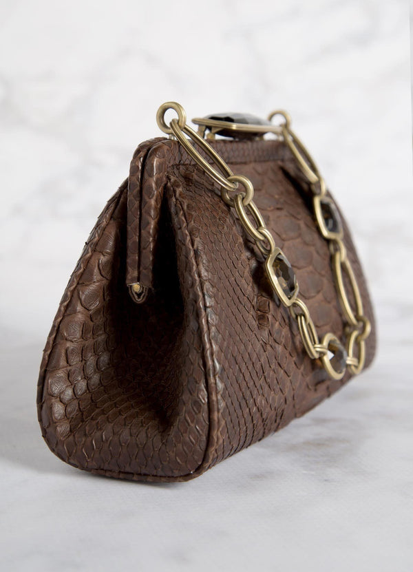 Brown Chain & Jewel Mini Handbag, Side View - Darby Scott--alternate
