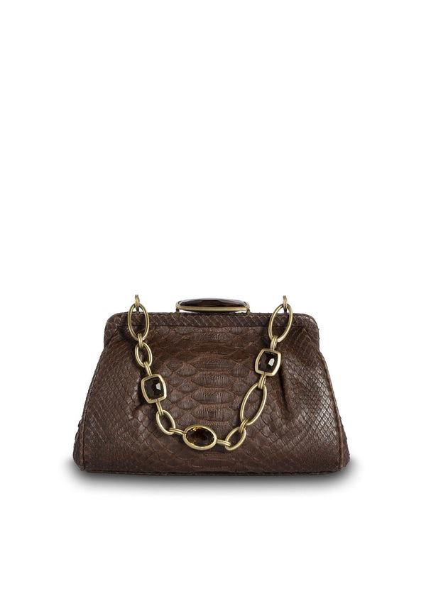 Brown Chain & Jewel Mini Handbag, Front View - Darby Scott