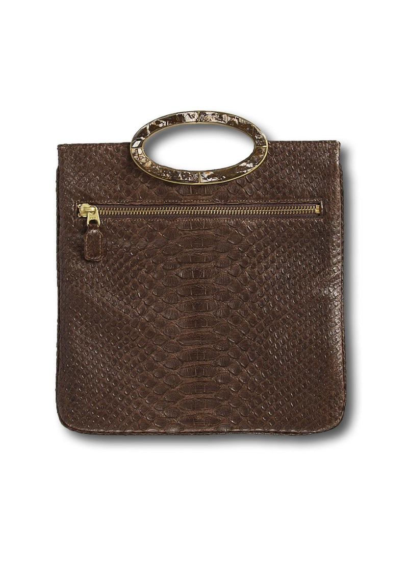 Open view Brown Mini Convertible Clutch - Darby Scott