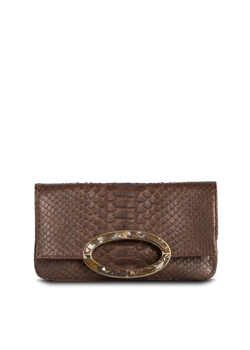 Chocolate Brown Mini Convertible Fold over Clutch - Darby Scott