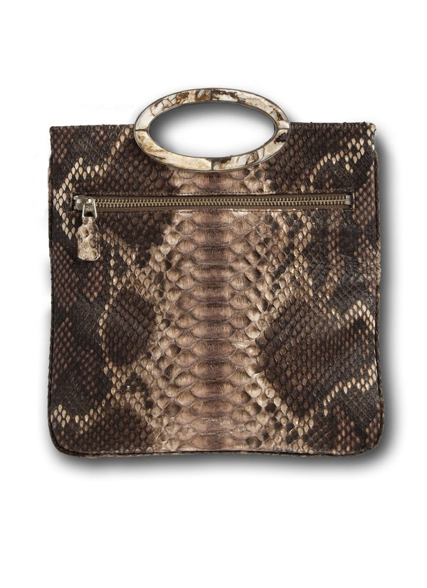 Open view of Brown Multi Colored Python Convertible Fold Over Clutch - Darby Scott--alternate
