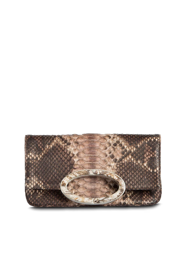 Brown Multi-Colored Python Convertible Fold Over Clutch - Darby Scott