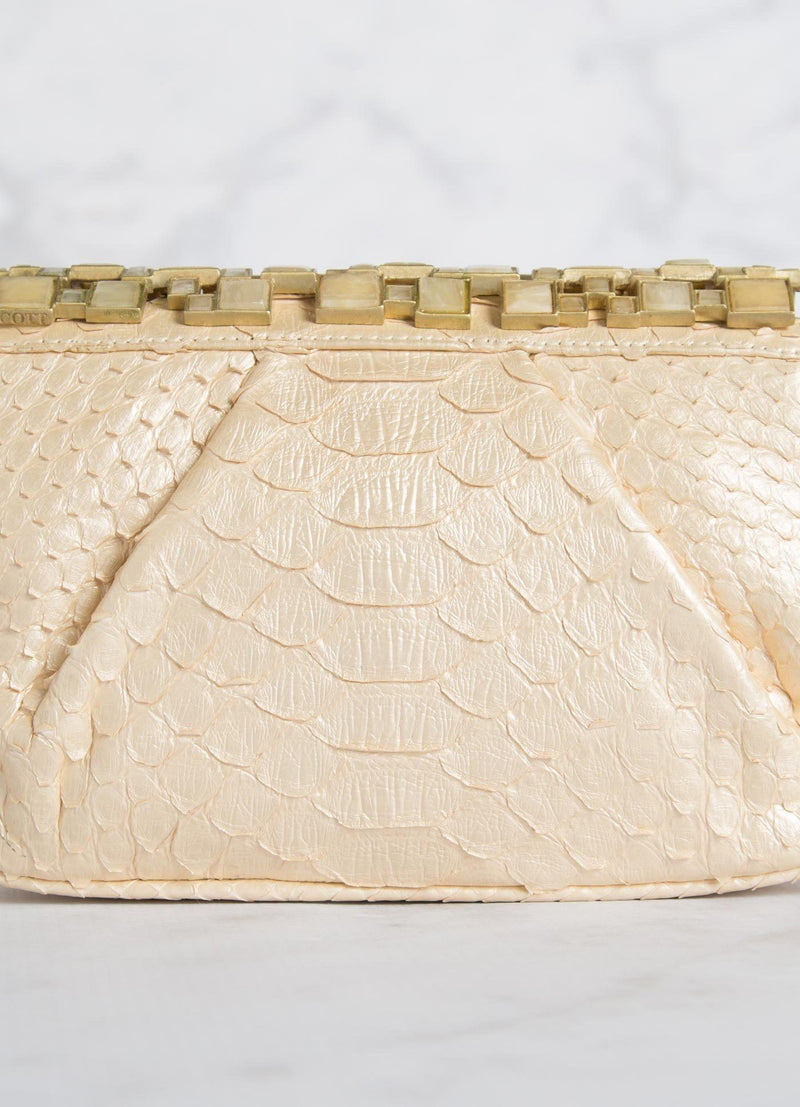 Cream Python Art Deco Clutch Detail - Darby Scott
