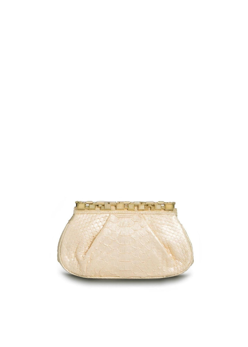 Cream Python Art Deco Clutch with Argonite Top - Darby Scott