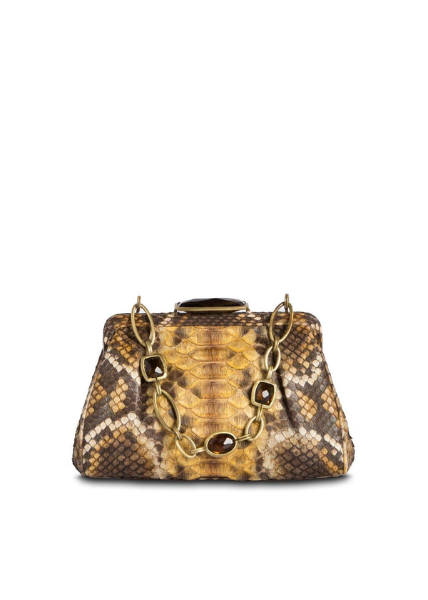 Dark Gold Multi-Color Mini Handbag, Front View - Darby Scott