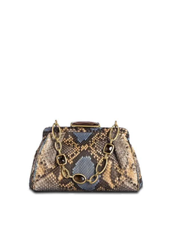Blue & Tan Chain & Jewel Mini Handbag, Front View - Darby Scott