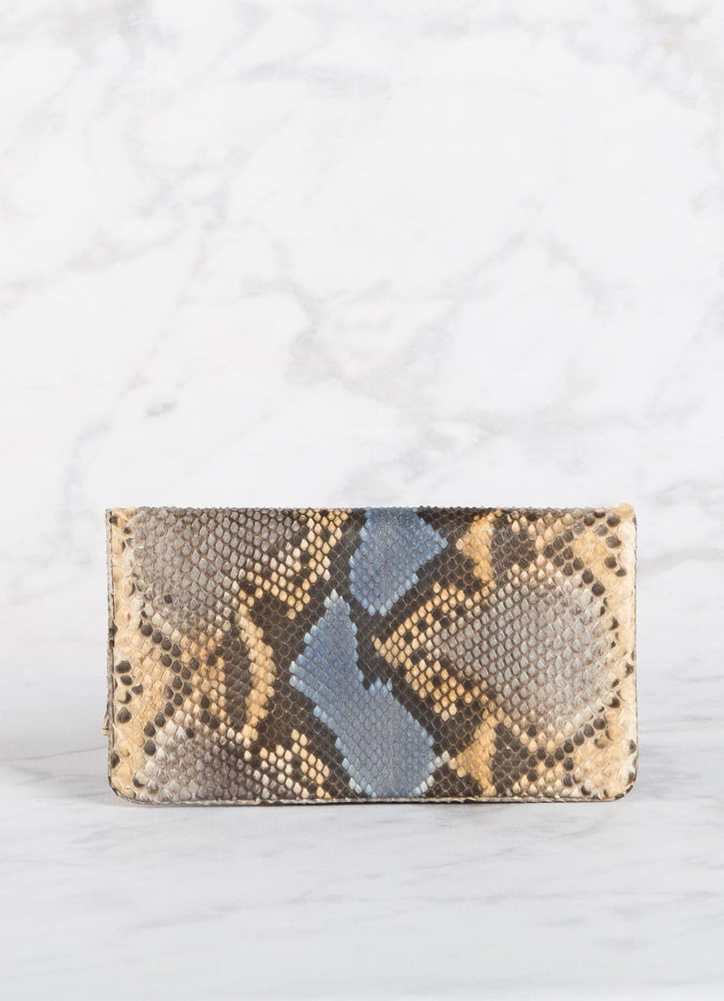 Back view of Denim and Brown Python Convertible Clutch - Darby Scott
