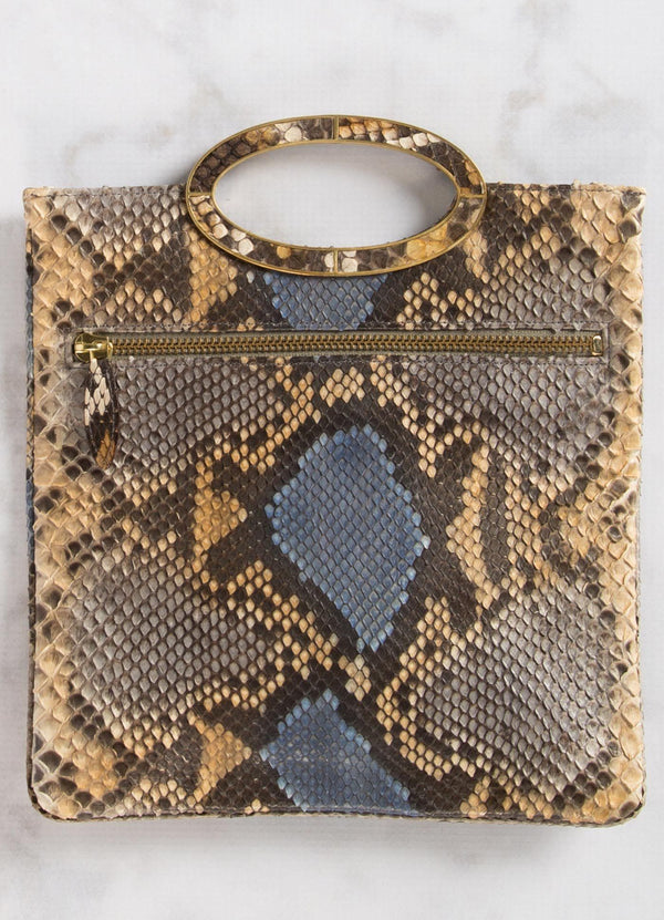 Open view of Denim Multi Color Python Convertible Clutch - Darby Scott --alternate