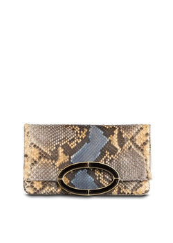 Denim Multi Color Python Convertible fold over Clutch - Darby Scott