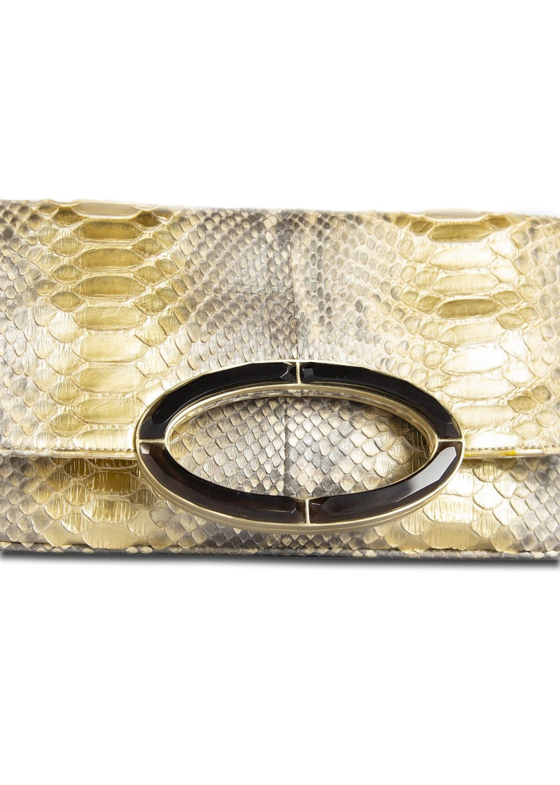 Close up view of smokey topaz handle on gold python clutch - Darby Scott