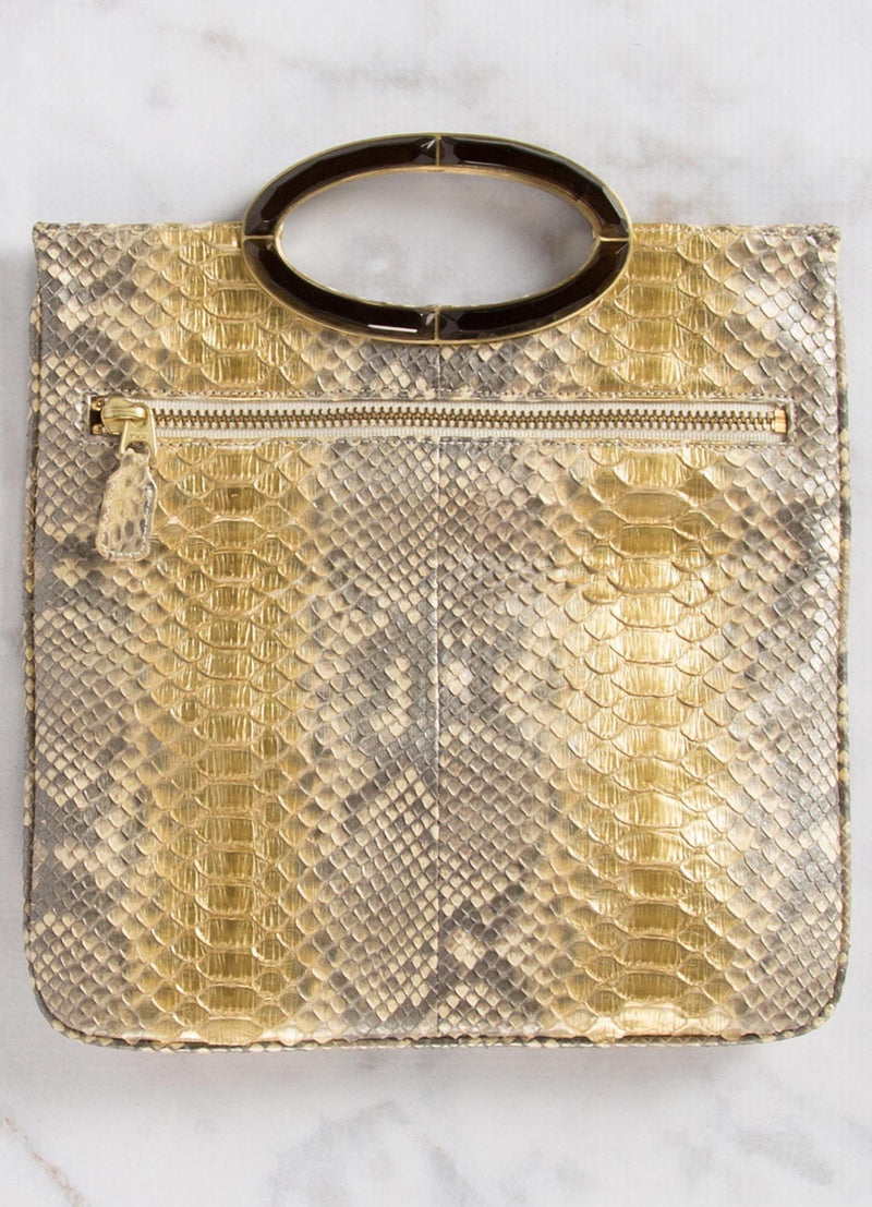 Open view of Gold Wash Python Convertible Clutch - Darby Scott