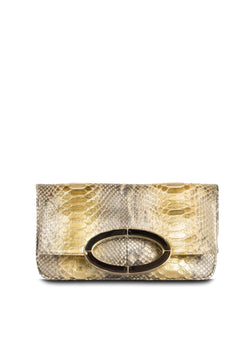 Gold Wash Python Convertible fold over Clutch - Darby Scott