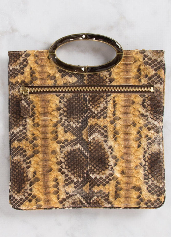 Open view of Gold & Brown Python Convertible Clutch - Darby Scott --alternate