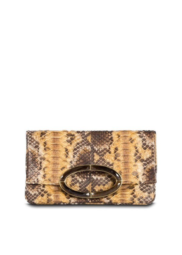Gold & Brown Python Convertible fold over Clutch - Darby Scott