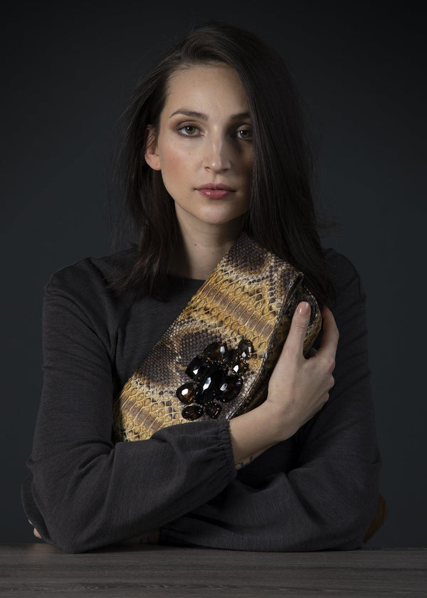 Model with Smokey Topaz and Gold Multi-Color  Fold Over Clutch - Darby Scott--alternate